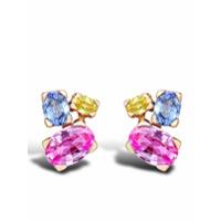 Pragnell Par De Brincos Rainbow De Ouro Rosé 18K Com Safira - Rosa