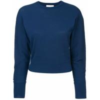 Ck Calvin Klein Suéter Com Barras Caneladas - Azul