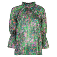 Cynthia Rowley Blusa Butterfly Waterfall - Verde