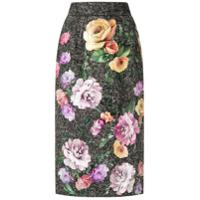Dolce & Gabbana Saia Reta Padronagem Floral Aplicada - Cinza