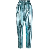 Msgm Calça Pantalona Metálica - Azul