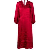 Kirin Vestido Envelope De Cetim Com Estampa De Logo - Vermelho