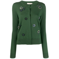 Tory Burch Embroidery Embellished Cardigan - Verde