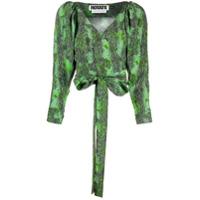 Rotate Blusa Com Estampa Pele De Cobra E Amarração Na Cintura - Verde