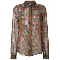 Saint Laurent Camisa Translúcida Com Bordado - Marrom