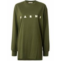 Marni Camiseta Assimétrica Com Estampa De Logo - Verde