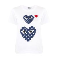 Comme Des Garçons Play Camiseta Gola Careca Com Estampa De Coração - Branco