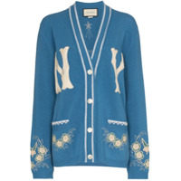 Gucci Ny Yankees Patch Embroidered Wool Cardigan - Azul