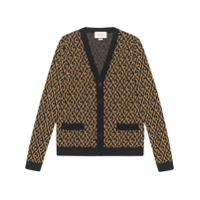 Gucci Cardigan Jacquard Com G Rhombus - Preto