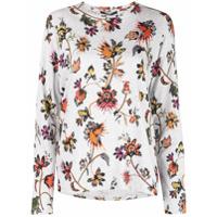 Derek Lam Camiseta Floral Mangas Longas - Cinza