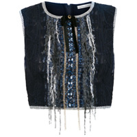 Martha Medeiros Top Cropped 'gabriela Patches' - Azul