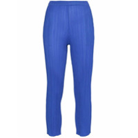 Pleats Please By Issey Miyake Pleated Slim Cropped Trousers - Azul