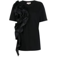 Alexander Mcqueen Camiseta Com Babados Frontal - Preto
