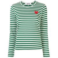 Comme Des Garçons Play Camiseta Com Listras E Patch De Logo - Verde