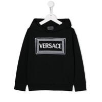 Versace Kids Vintage Logo print hoodie - Preto - FarFetch BR
