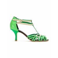 Sarah Chofakian Peep Toe De Couro Com Recortes - Green
