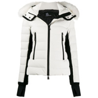 Moncler Grenoble Fur Trim Hooded Padded Jacket - Branco