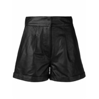 Tela High-Waist Pleated Shorts - Preto