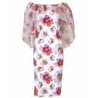 Le Petite Robe Di Chiara Boni Vestido Floral Com Sobreposição De Capa - Branco