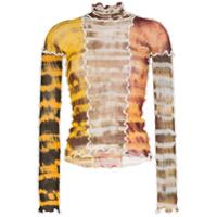 Asai Blusa Tie Dye Com Transparência - Marrom