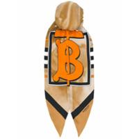 Burberry Lenço De Cabeça Com Logo - Marrom