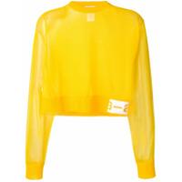 Artica Arbox Suéter Cropped Translúcido - Amarelo