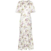 Les Rêveries Vestido Longo De Seda Floral - Neutro