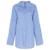 Blindness Camisa Listrada Com Botões - Azul
