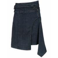 Tufi Duek Saia Jeans Assimétrica - Azul