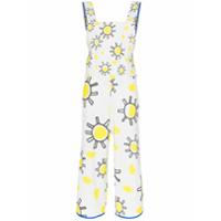 Mira Mikati Square Neck Sunshine Print Cotton Linen Blend Jumpsuit - Branco