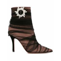 Amina Muaddi Ankle Boot Com Aplicação De Cristal - Preto