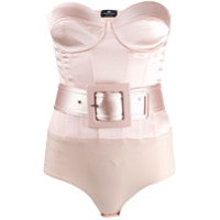 Elisabetta Franchi Fitted Belted Body - Neutro