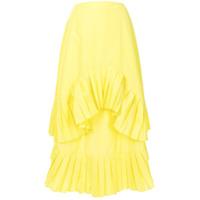 Enföld Saia Assimétrica Com Babados - Amarelo