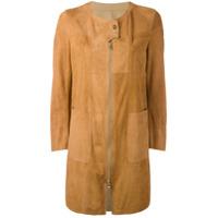 Sylvie Schimmel Patchwork Coat With Zip And Press Stud Fastening - Marrom