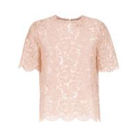 Valentino Blusa De Renda Mangas Curtas - Rosa