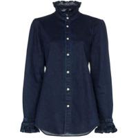 Eve Denim Camisa Jeans Com Detalhe De Babados - Azul