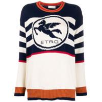 Etro Suéter Com Logo E Listras - Azul