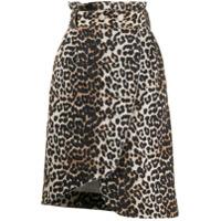 Ganni Saia Jeans Assimétrica Com Estampa De Leopardo - Neutro