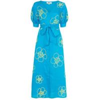 All Things Mochi Vestido Midi Floral Kaleo - Azul