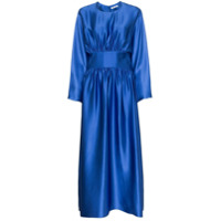 Deitas Vestido Hermine Franzido De Cetim - Azul