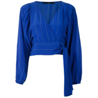 Eva Blusa De Seda Mangas Bufantes - Azul