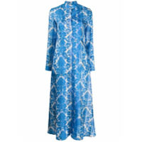 813 Chemise De Seda Com Estampa Floral - Azul