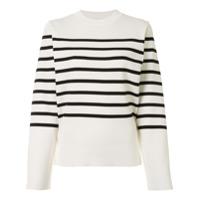 Akira Naka Suéter Listrado Com Recortes - Branco