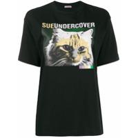 Sueundercover Cat Print T-Shirt - Preto