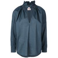A Shirt Thing Frilled Split Neck Shirt - Azul