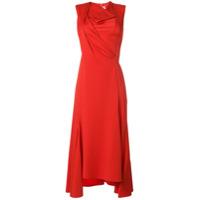 Victoria Beckham Vestido Midi Com Drapeado - Vermelho