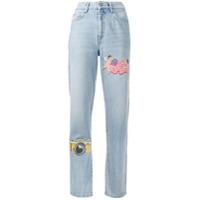 Fiorucci Calça Jeans Reta Com Patches 'tara Ny' - Azul