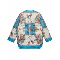 Gucci Jaqueta Matelassê Com Estampa De Flores E Tassel - Branco