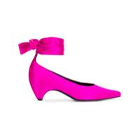 Stella Mccartney Sapato De Cetim Com Amarração - Rosa
