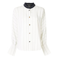 Comme Moi Stand-Up Collar Shirt - Branco